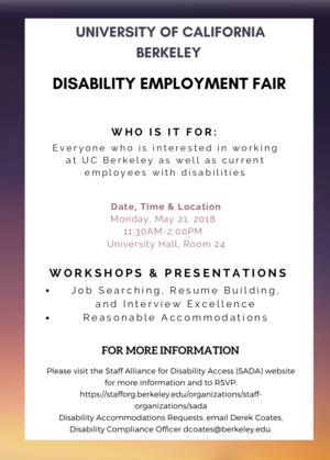 Disability job fair flyer